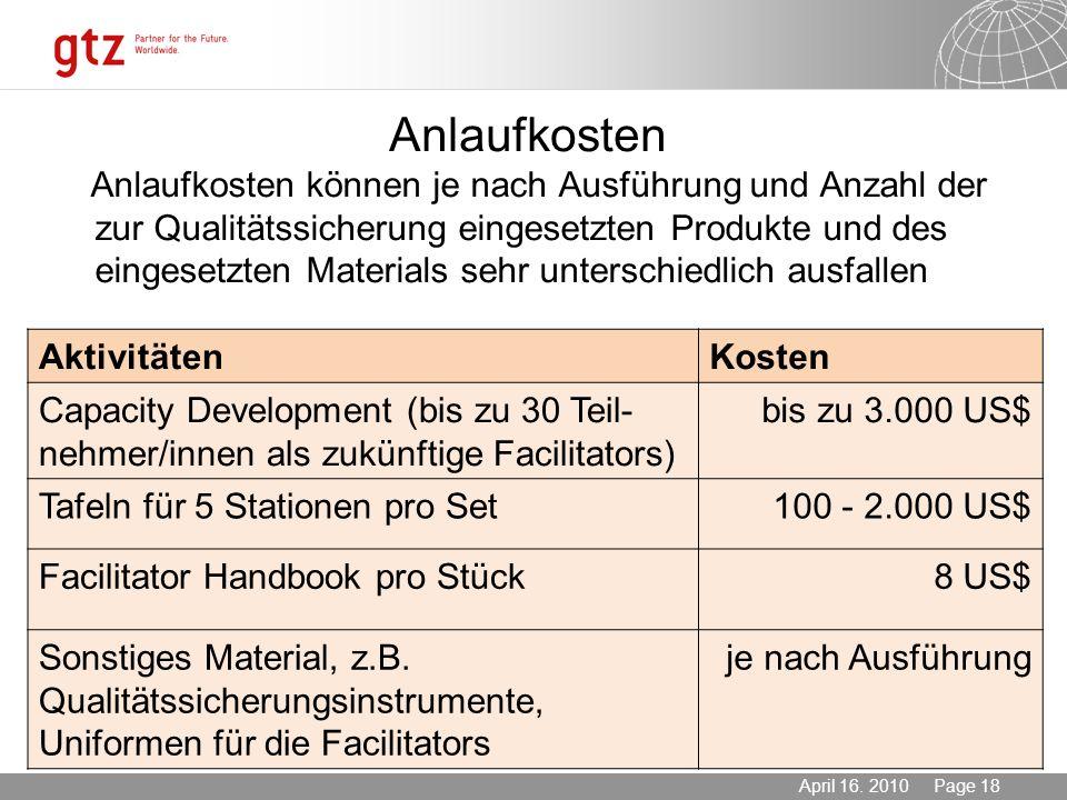 03.11.2013 Seite 18 Page 18April 16. 2010 Anlaufkosten Anlaufkosten können je nach Ausführung und Anzahl der zur Qualitätssicherung eingesetzten Produ