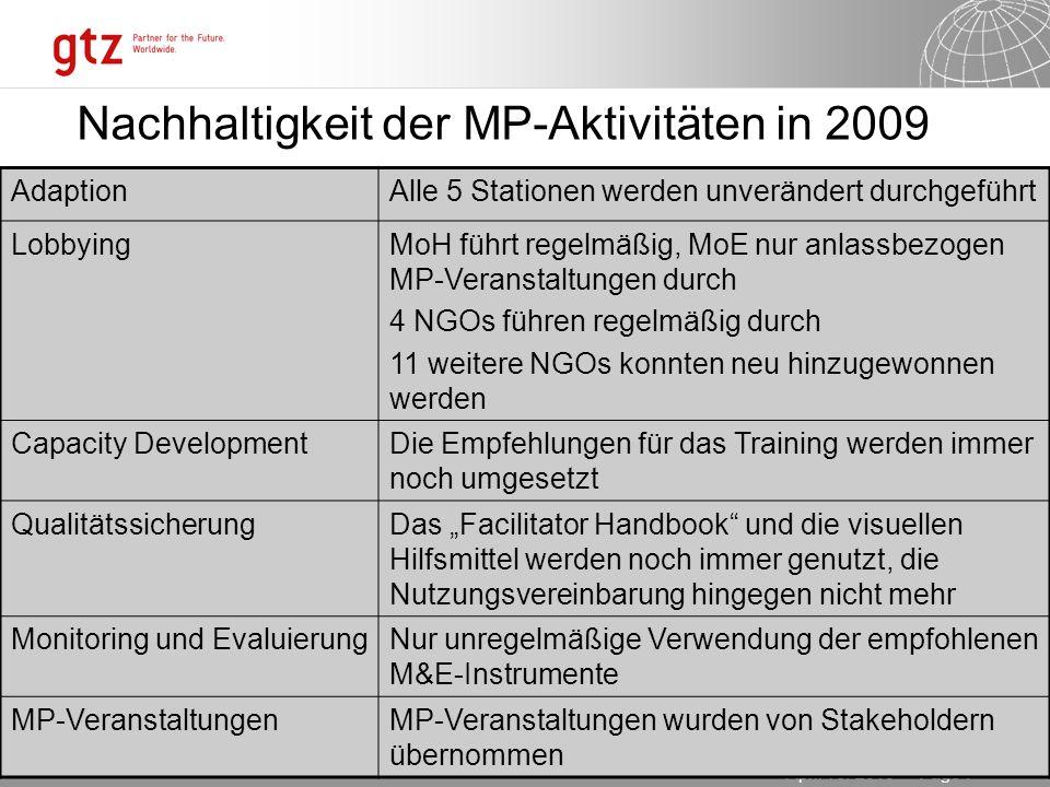 03.11.2013 Seite 7 Page 7April 16. 2010 Nachhaltigkeit der MP-Aktivitäten in 2009 AdaptionAlle 5 Stationen werden unverändert durchgeführt LobbyingMoH