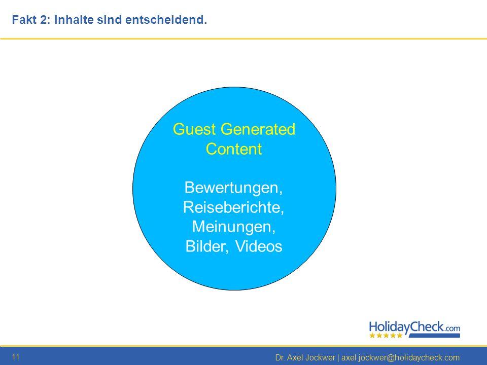 11 Dr. Axel Jockwer   axel.jockwer@holidaycheck.com Guest Generated Content Bewertungen, Reiseberichte, Meinungen, Bilder, Videos Fakt 2: Inhalte sind