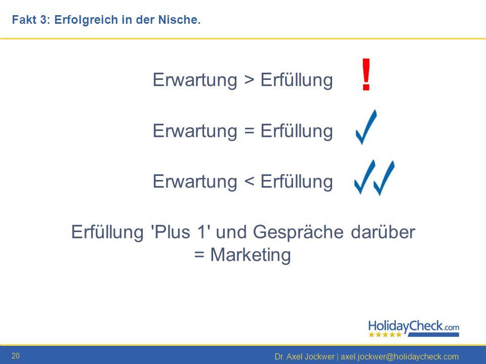 20 Dr. Axel Jockwer   axel.jockwer@holidaycheck.com Erwartung > Erfüllung Erwartung = Erfüllung Erwartung < Erfüllung Erfüllung 'Plus 1' und Gespräche