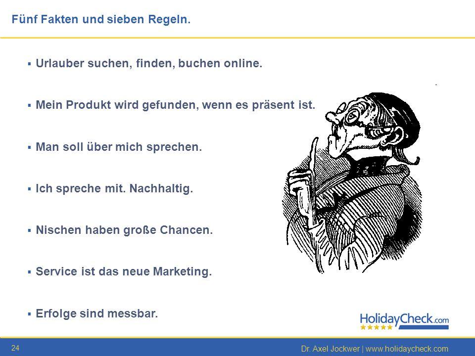 24 Dr. Axel Jockwer | www.holidaycheck.com Urlauber suchen, finden, buchen online. Mein Produkt wird gefunden, wenn es präsent ist. Man soll über mich