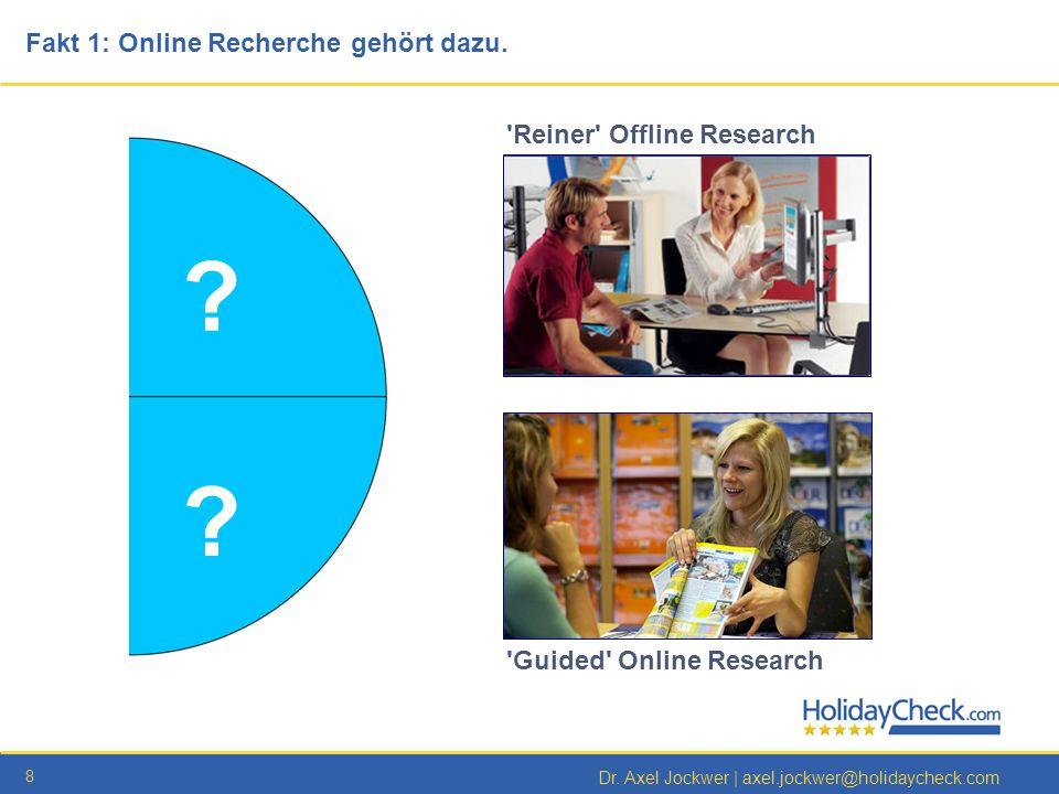 8 Dr. Axel Jockwer   axel.jockwer@holidaycheck.com Fakt 1: Online Recherche gehört dazu. 'Guided' Online Research ? ? 'Reiner' Offline Research