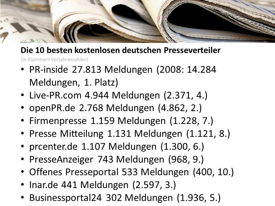 Die 10 besten kostenlosen deutschen Presseverteiler (in Klammern Vorjahreszahlen) PR-inside 27.813 Meldungen (2008: 14.284 Meldungen, 1. Platz) Live-P