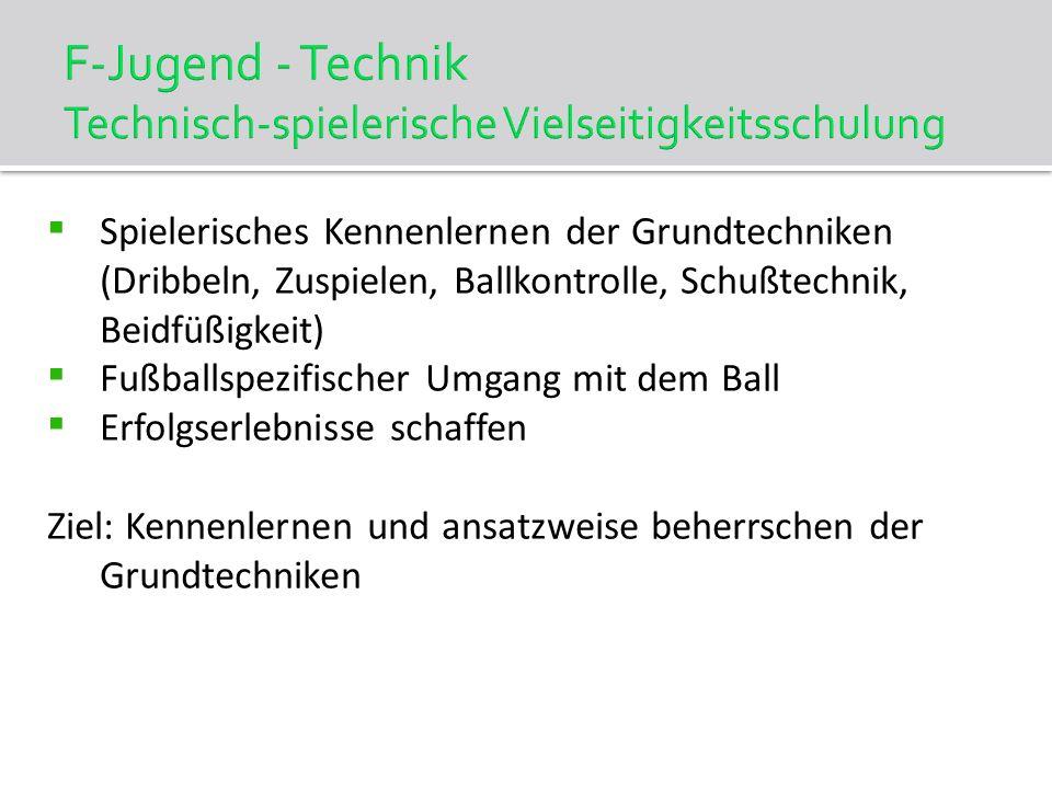 F-Jugend - Technik Technisch-spielerische Vielseitigkeitsschulung Spielerisches Kennenlernen der Grundtechniken (Dribbeln, Zuspielen, Ballkontrolle, S