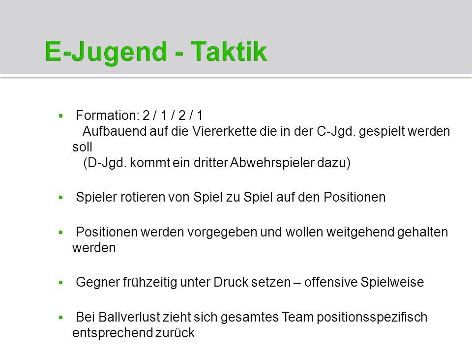 Formation: 2 / 1 / 2 / 1 Aufbauend auf die Viererkette die in der C-Jgd. gespielt werden soll (D-Jgd. kommt ein dritter Abwehrspieler dazu) Spieler ro