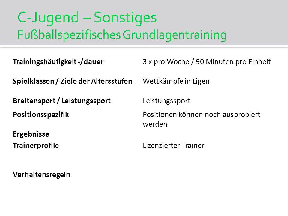 C-Jugend – Sonstiges Fußballspezifisches Grundlagentraining Trainingshäufigkeit -/dauer3 x pro Woche / 90 Minuten pro Einheit Spielklassen / Ziele der