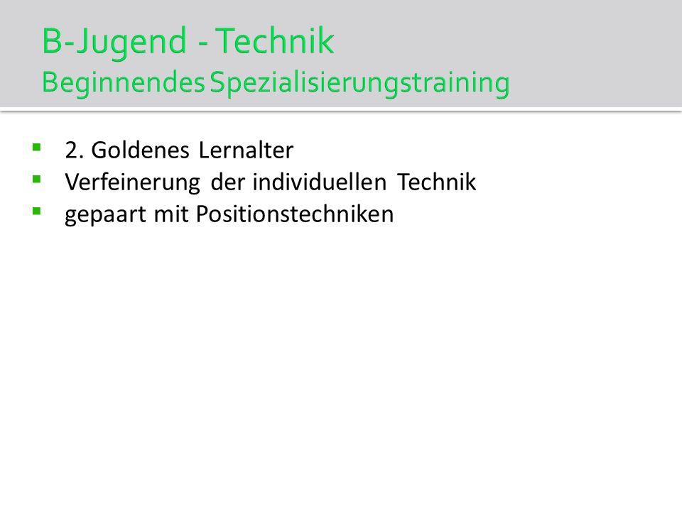 B-Jugend - Technik Beginnendes Spezialisierungstraining 2. Goldenes Lernalter Verfeinerung der individuellen Technik gepaart mit Positionstechniken