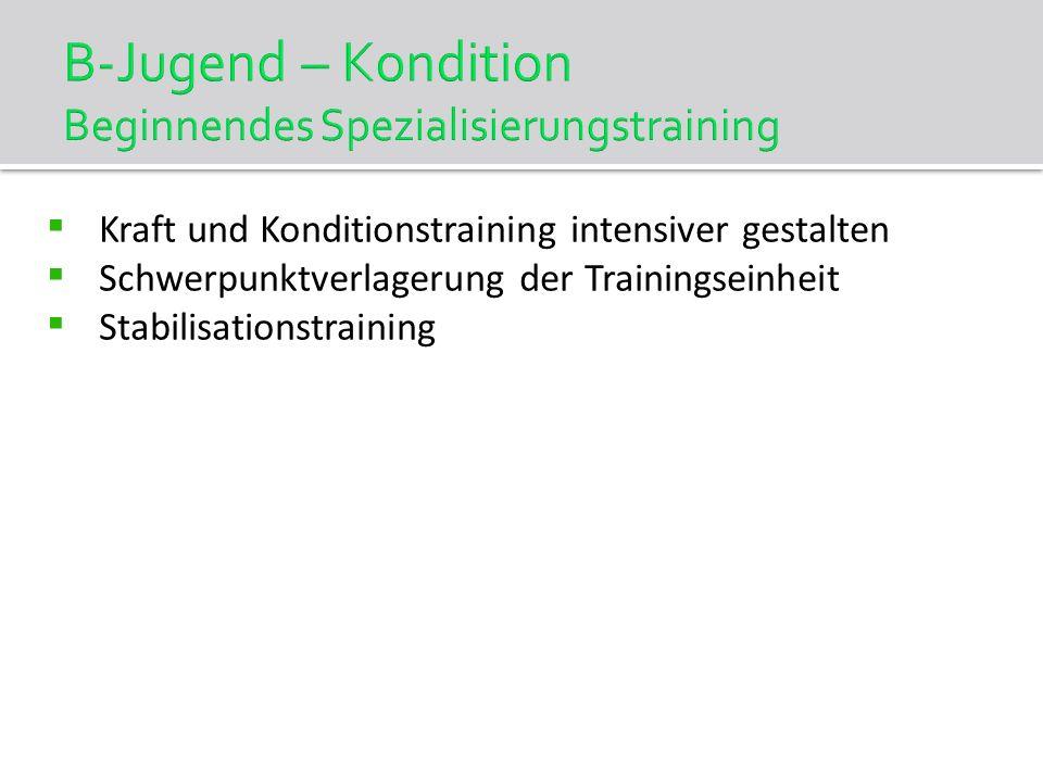 B-Jugend – Kondition Beginnendes Spezialisierungstraining Kraft und Konditionstraining intensiver gestalten Schwerpunktverlagerung der Trainingseinhei
