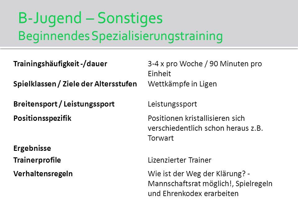 B-Jugend – Sonstiges Beginnendes Spezialisierungstraining Trainingshäufigkeit -/dauer3-4 x pro Woche / 90 Minuten pro Einheit Spielklassen / Ziele der