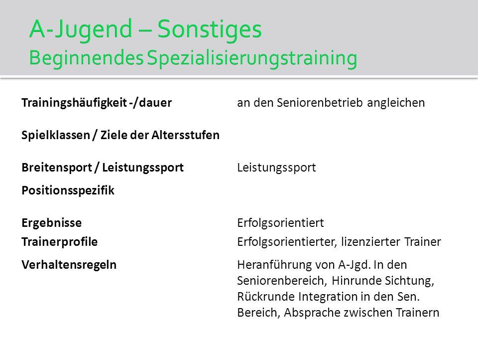 A-Jugend – Sonstiges Beginnendes Spezialisierungstraining Trainingshäufigkeit -/daueran den Seniorenbetrieb angleichen Spielklassen / Ziele der Alters