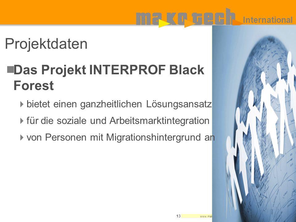 www.makotech.de 13 International Projektdaten Das Projekt INTERPROF Black Forest bietet einen ganzheitlichen Lösungsansatz für die soziale und Arbeits