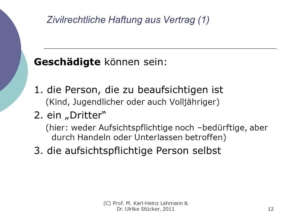 (C) Prof. M. Karl-Heinz Lehmann & Dr. Ulrike Stücker, 201112 Zivilrechtliche Haftung aus Vertrag (1) Geschädigte können sein: 1. die Person, die zu be