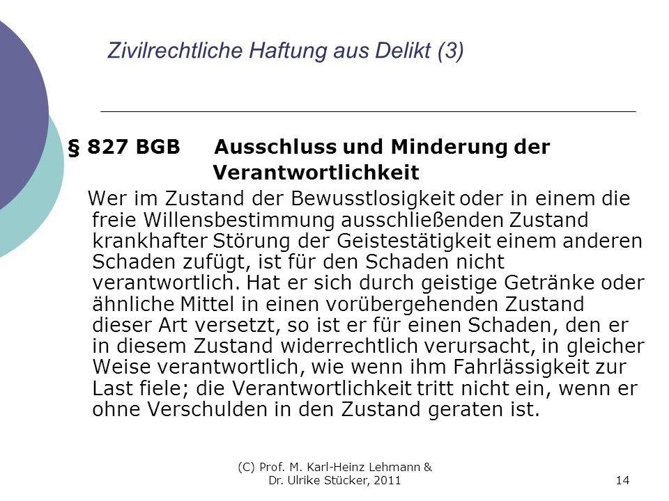 (C) Prof. M. Karl-Heinz Lehmann & Dr. Ulrike Stücker, 201114 Zivilrechtliche Haftung aus Delikt (3) § 827 BGB Ausschluss und Minderung der Verantwortl