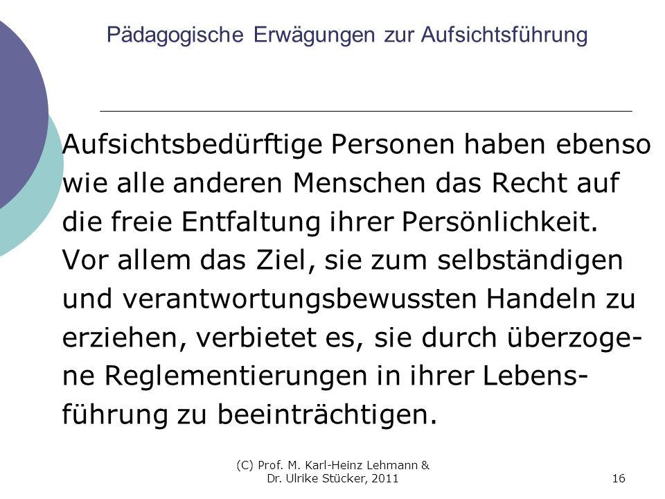 (C) Prof. M. Karl-Heinz Lehmann & Dr. Ulrike Stücker, 201116 Pädagogische Erwägungen zur Aufsichtsführung Aufsichtsbedürftige Personen haben ebenso wi