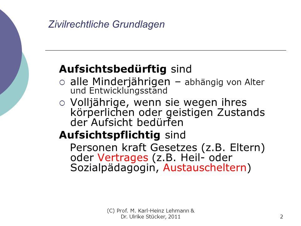 (C) Prof. M. Karl-Heinz Lehmann & Dr. Ulrike Stücker, 20112 Zivilrechtliche Grundlagen Aufsichtsbedürftig sind alle Minderjährigen – abhängig von Alte