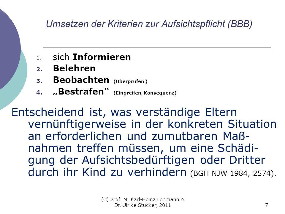 (C) Prof. M. Karl-Heinz Lehmann & Dr. Ulrike Stücker, 20117 Umsetzen der Kriterien zur Aufsichtspflicht (BBB) 1. sich Informieren 2. Belehren 3. Beoba