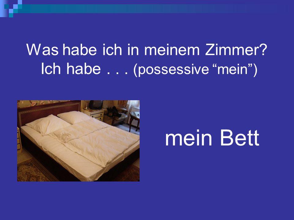 Was habe ich in meinem Zimmer Ich habe... (possessive mein) mein Bett