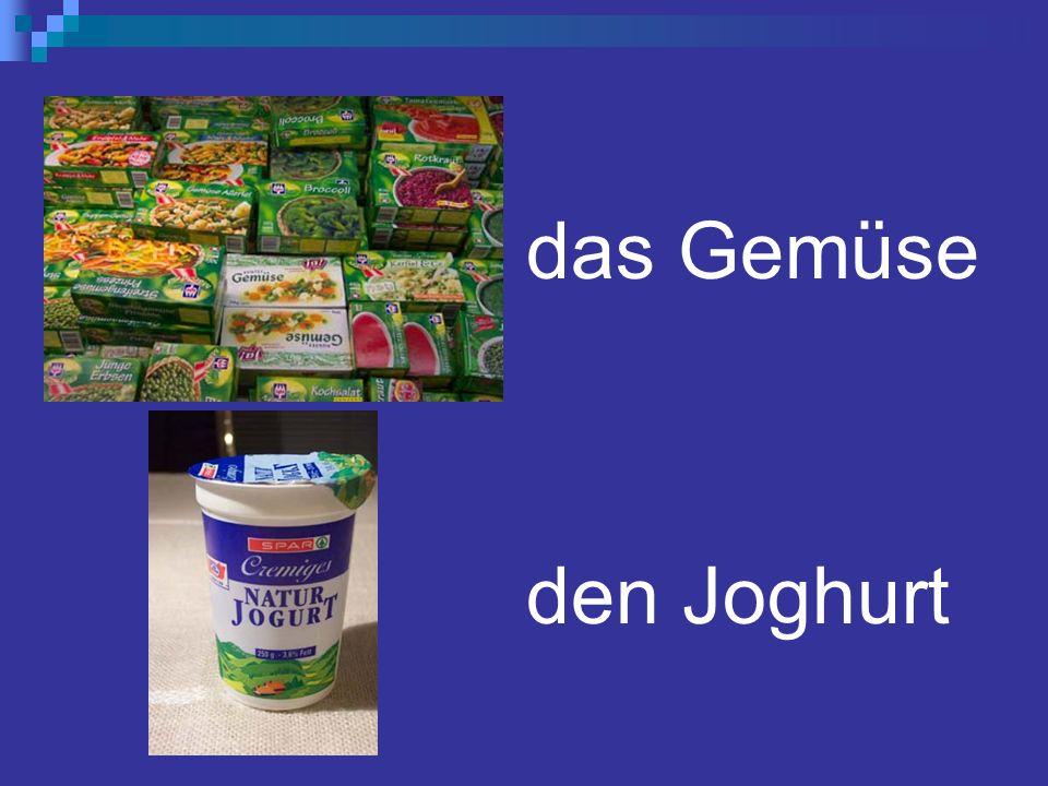 das Gemüse den Joghurt