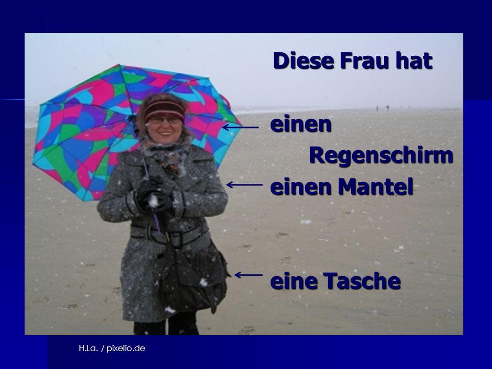 Diese Frau hat Diese Frau hat einen einen Regenschirm Regenschirm einen Mantel einen Mantel eine Tasche eine Tasche H.La. / pixelio.de