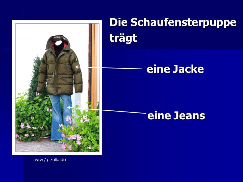 Die Schaufensterpuppe trägt eine Jacke eine Jacke eine Jeans eine Jeans wrw / pixelio.de