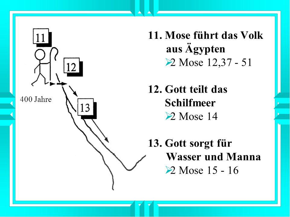 11. Mose führt das Volk aus Ägypten 2 Mose 12,37 - 51 12. Gott teilt das Schilfmeer 2 Mose 14 13. Gott sorgt für Wasser und Manna 2 Mose 15 - 16 400 J