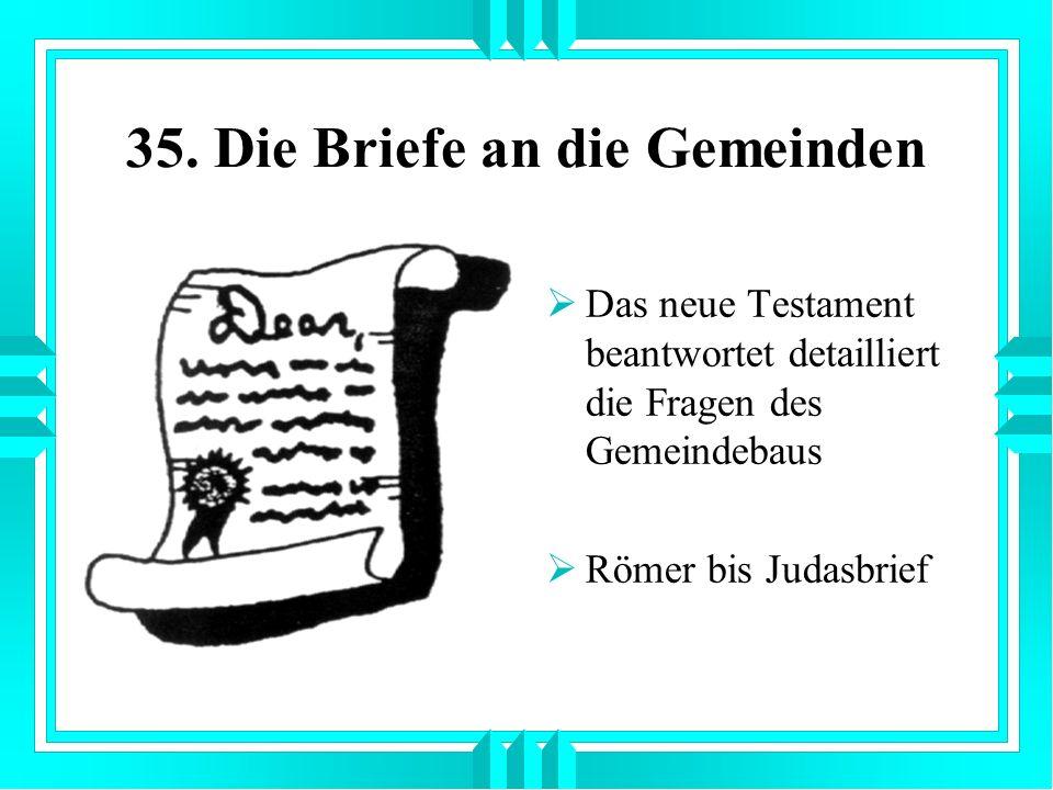 35. Die Briefe an die Gemeinden Das neue Testament beantwortet detailliert die Fragen des Gemeindebaus Römer bis Judasbrief