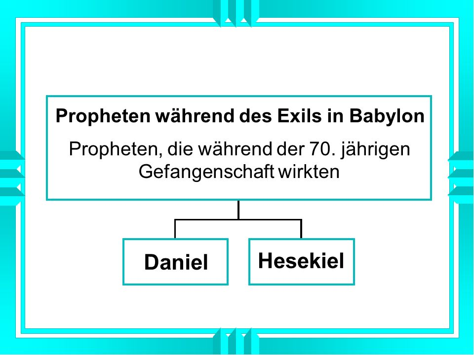 Daniel Hesekiel Propheten während des Exils in Babylon Propheten, die während der 70. jährigen Gefangenschaft wirkten