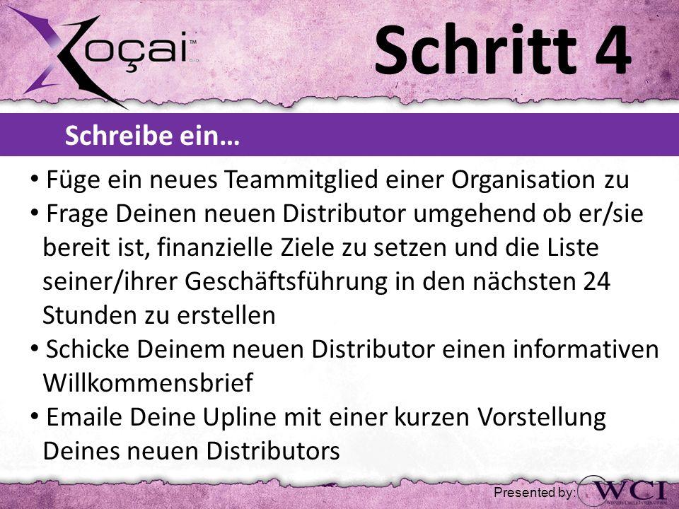 Schritt 4 Schreibe ein… Füge ein neues Teammitglied einer Organisation zu Frage Deinen neuen Distributor umgehend ob er/sie bereit ist, finanzielle Zi