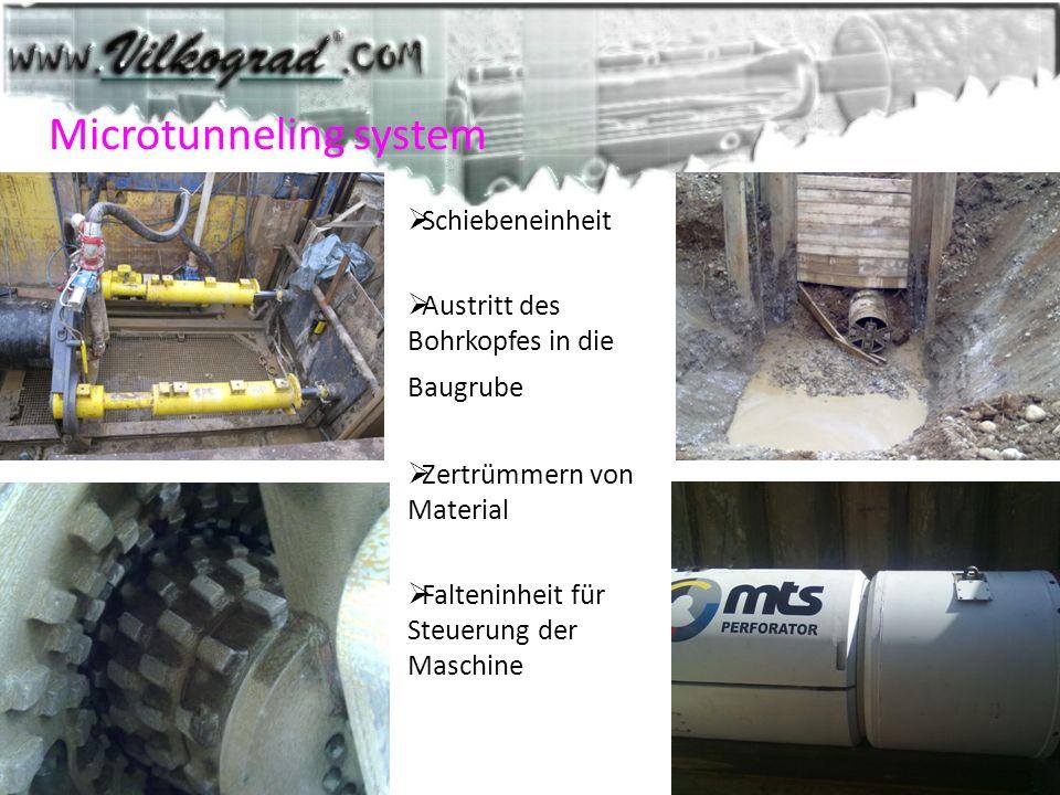 Microtunneling system Schiebeneinheit Austritt des Bohrkopfes in die Baugrube Zertrümmern von Material Falteninheit für Steuerung der Maschine