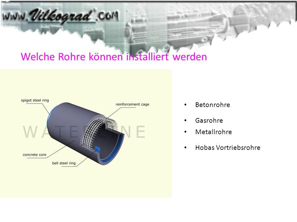 Welche Rohre können installiert werden Betonrohre Gasrohre Metallrohre Hobas Vortriebsrohre