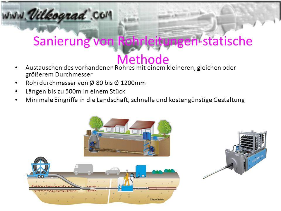 Sanierung von Rohrleitungen-statische Methode Austauschen des vorhandenen Rohres mit einem kleineren, gleichen oder größerem Durchmesser Rohrdurchmess