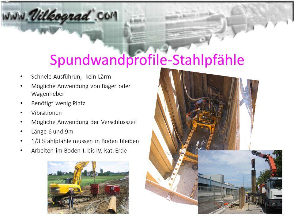 Spundwandprofile-Stahlpfähle Schnele Ausführun, kein Lärm Mögliche Anwendung von Bager oder Wagenheber Benötigt wenig Platz Vibrationen Mögliche Anwen