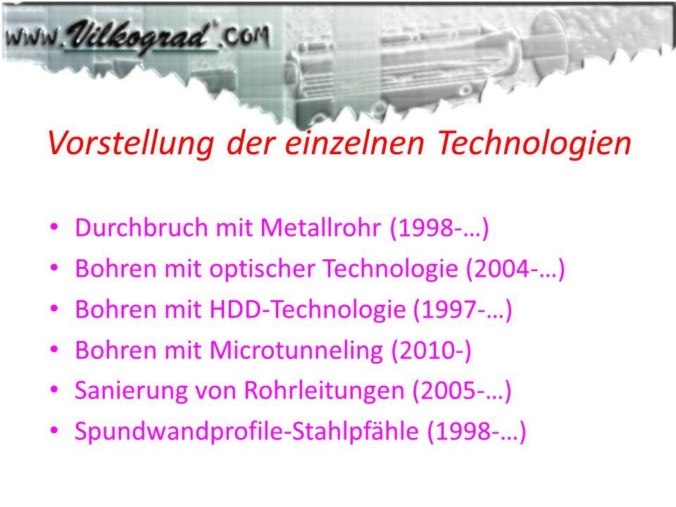 Vorstellung der einzelnen Technologien Durchbruch mit Metallrohr (1998-…) Bohren mit optischer Technologie (2004-…) Bohren mit HDD-Technologie (1997-…