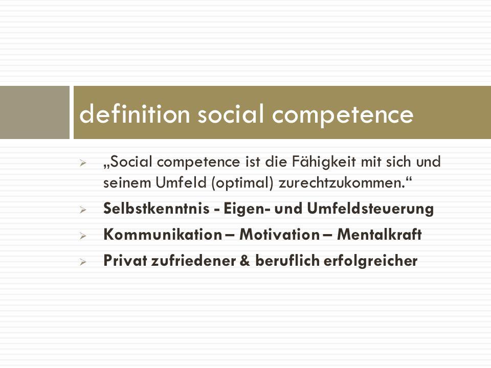 Social competence ist die Fähigkeit mit sich und seinem Umfeld (optimal) zurechtzukommen. Selbstkenntnis - Eigen- und Umfeldsteuerung Kommunikation –