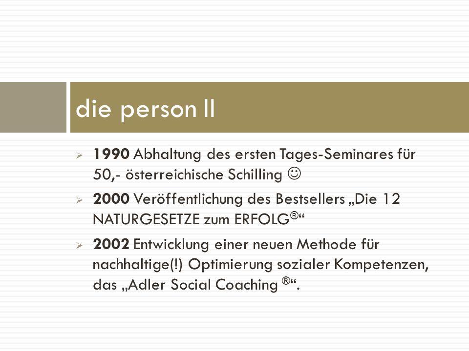 1990 Abhaltung des ersten Tages-Seminares für 50,- österreichische Schilling 2000 Veröffentlichung des Bestsellers Die 12 NATURGESETZE zum ERFOLG ® 20