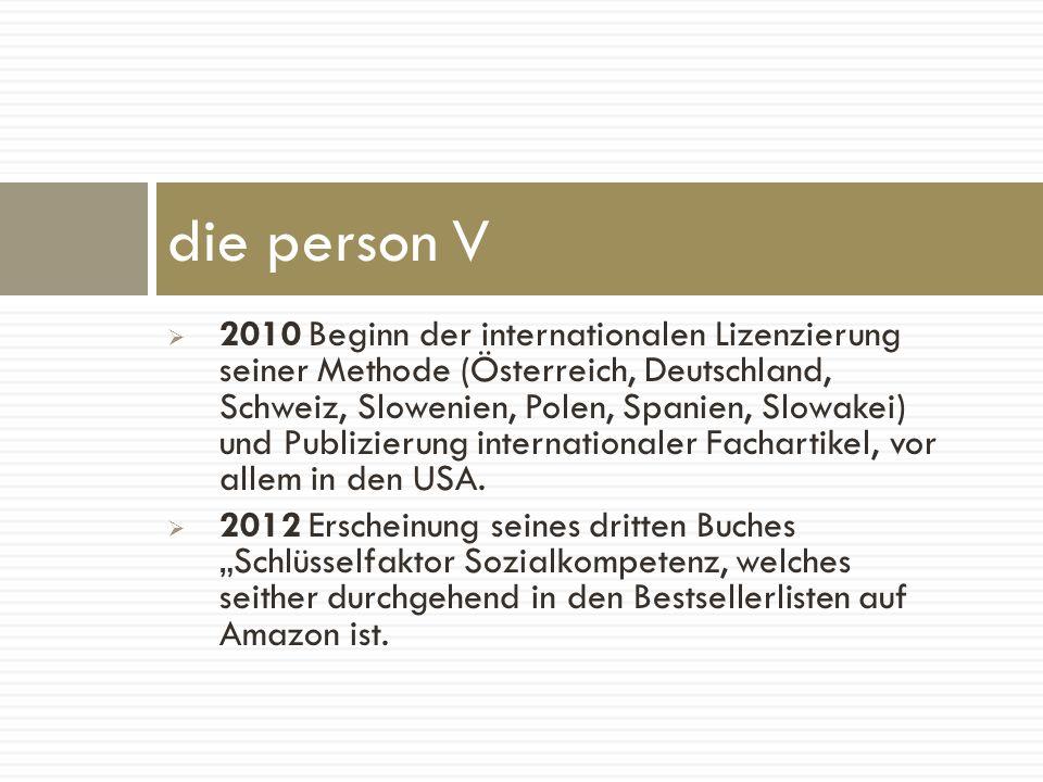 2010 Beginn der internationalen Lizenzierung seiner Methode (Österreich, Deutschland, Schweiz, Slowenien, Polen, Spanien, Slowakei) und Publizierung i