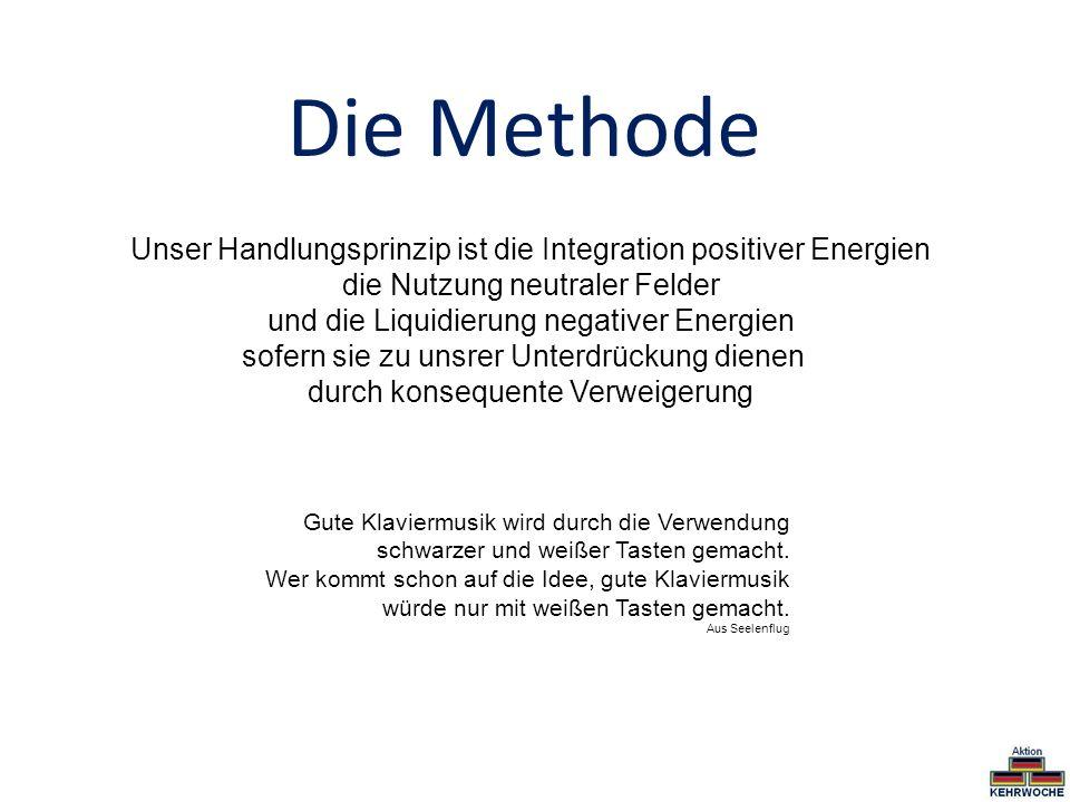 Die Methode Unser Handlungsprinzip ist die Integration positiver Energien die Nutzung neutraler Felder und die Liquidierung negativer Energien sofern
