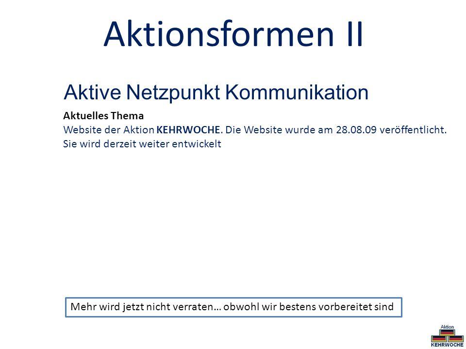 Aktionsformen II Aktive Netzpunkt Kommunikation Aktuelles Thema Website der Aktion KEHRWOCHE. Die Website wurde am 28.08.09 veröffentlicht. Sie wird d