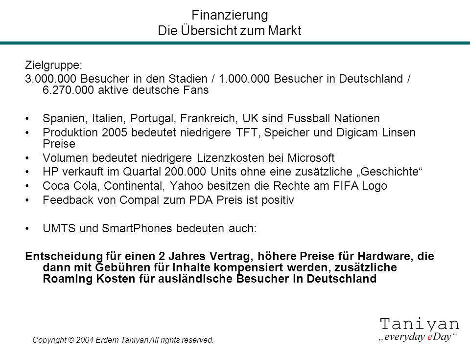 Copyright © 2004 Erdem Taniyan All rights reserved. Zielgruppe: 3.000.000 Besucher in den Stadien / 1.000.000 Besucher in Deutschland / 6.270.000 akti