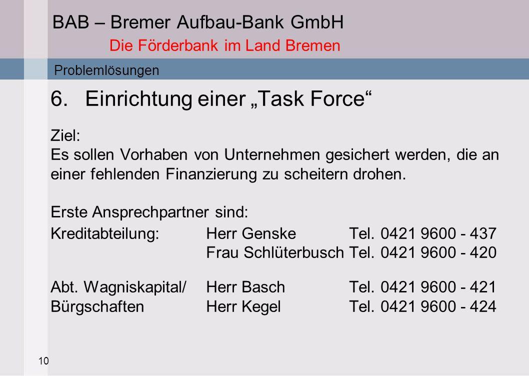 10 BAB – Bremer Aufbau-Bank GmbH Die Förderbank im Land Bremen 6.Einrichtung einer Task Force Ziel: Es sollen Vorhaben von Unternehmen gesichert werde