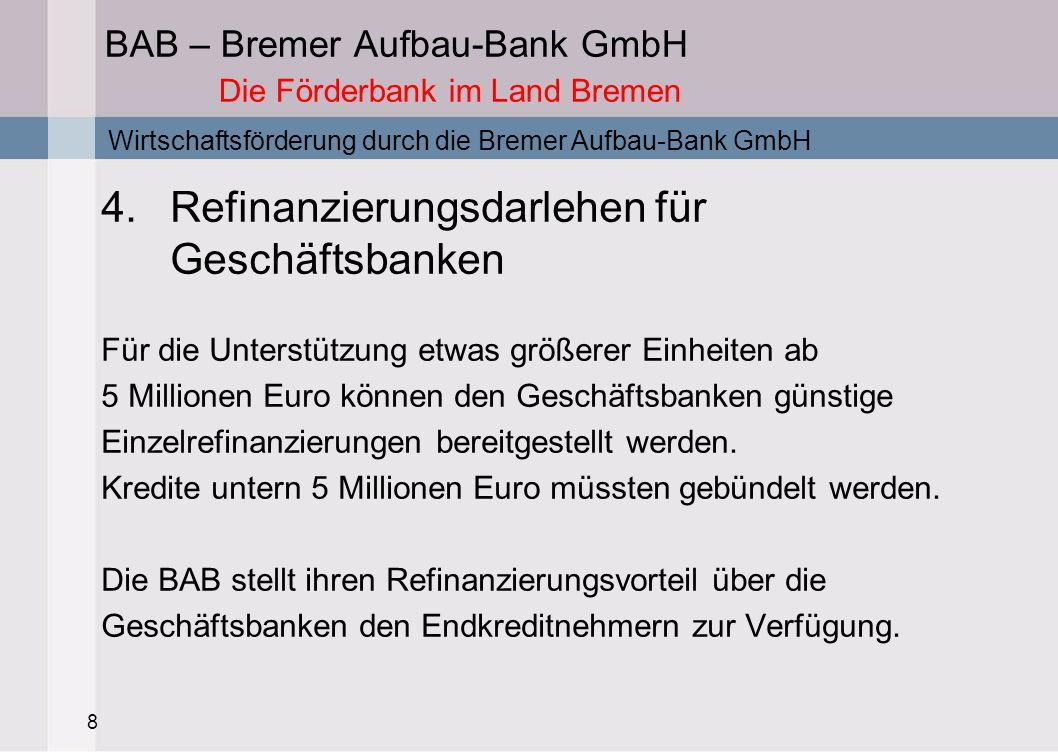 8 BAB – Bremer Aufbau-Bank GmbH Die Förderbank im Land Bremen 4.Refinanzierungsdarlehen für Geschäftsbanken Für die Unterstützung etwas größerer Einhe