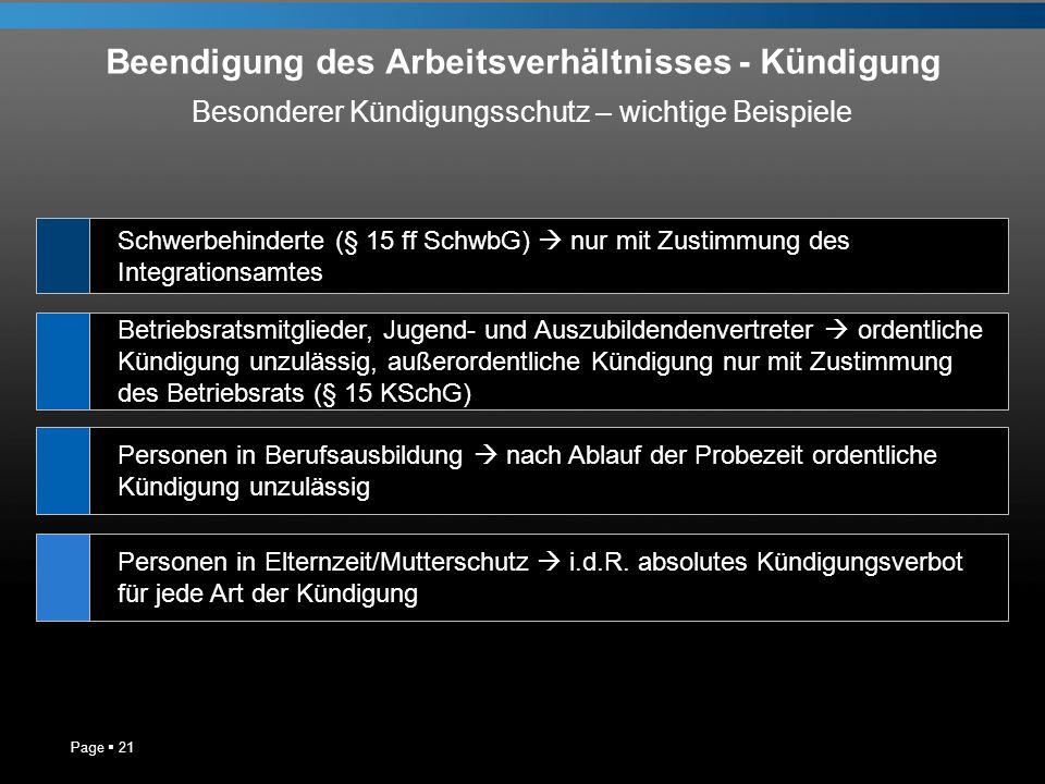 Beendigung des Arbeitsverhältnisses - Kündigung Page 21 Schwerbehinderte (§ 15 ff SchwbG) nur mit Zustimmung des Integrationsamtes Betriebsratsmitglie