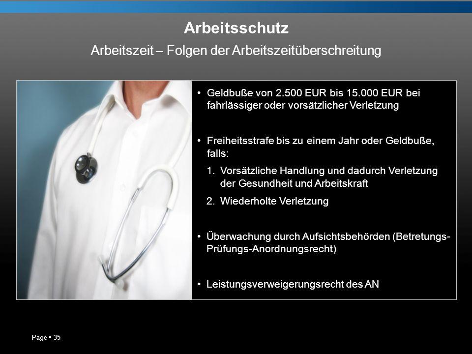 Arbeitsschutz Page 35 Geldbuße von 2.500 EUR bis 15.000 EUR bei fahrlässiger oder vorsätzlicher Verletzung Freiheitsstrafe bis zu einem Jahr oder Geld