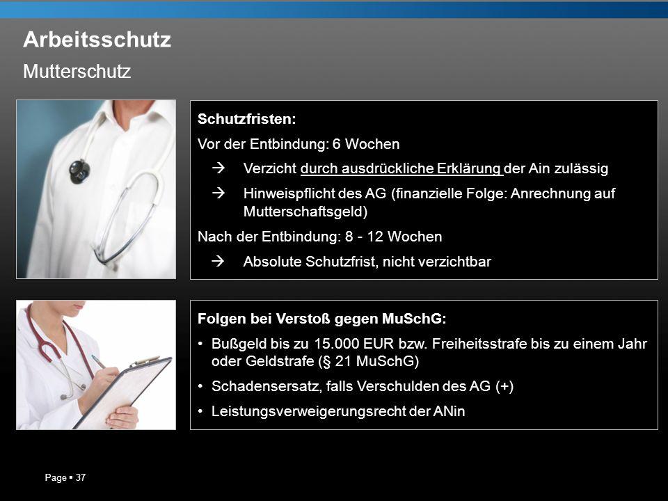 Arbeitsschutz Page 37 Schutzfristen: Vor der Entbindung: 6 Wochen Verzicht durch ausdrückliche Erklärung der Ain zulässig Hinweispflicht des AG (finan
