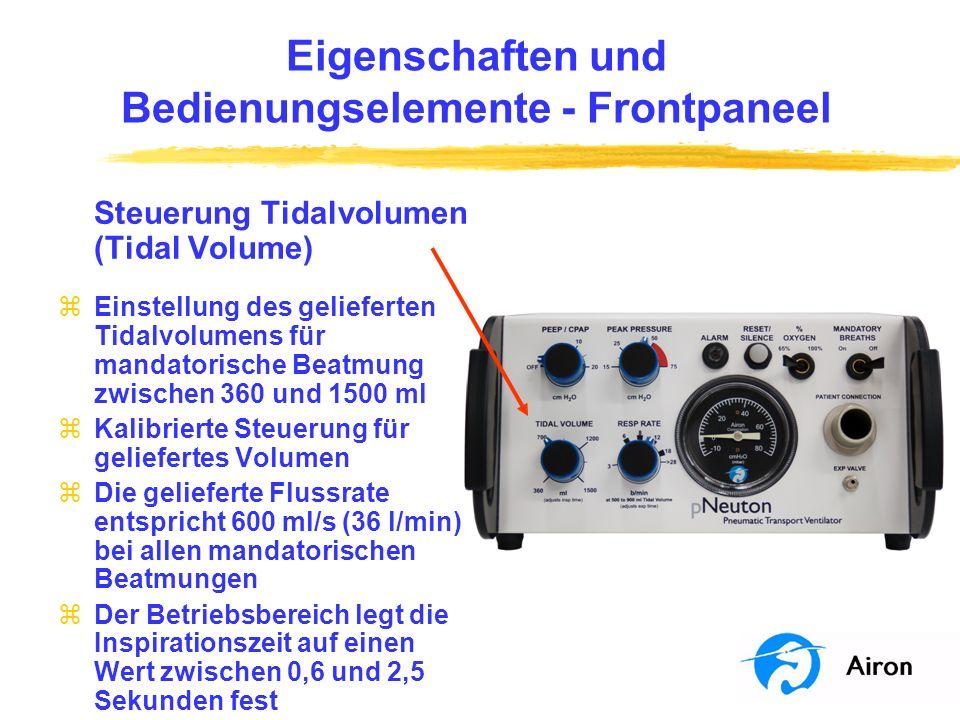 Eigenschaften und Bedienungselemente Frontpaneel Steuerung Tidalvolumen (Tidal Volume) zEinstellung des gelieferten Tidalvolumens für mandatorische Be