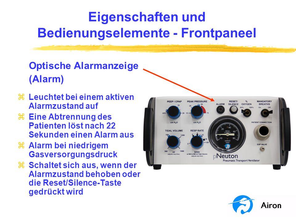 Eigenschaften und Bedienungselemente Frontpaneel Optische Alarmanzeige (Alarm) zLeuchtet bei einem aktiven Alarmzustand auf zEine Abtrennung des Patie