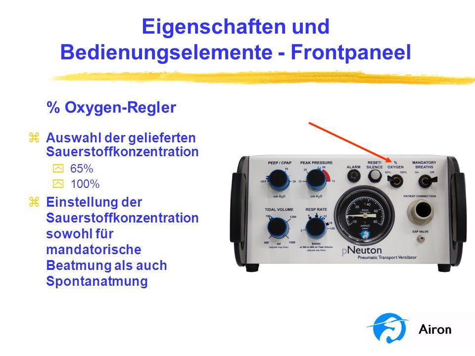 Eigenschaften und Bedienungselemente Frontpaneel % Oxygen-Regler zAuswahl der gelieferten Sauerstoffkonzentration y 65% y 100% zEinstellung der Sauers