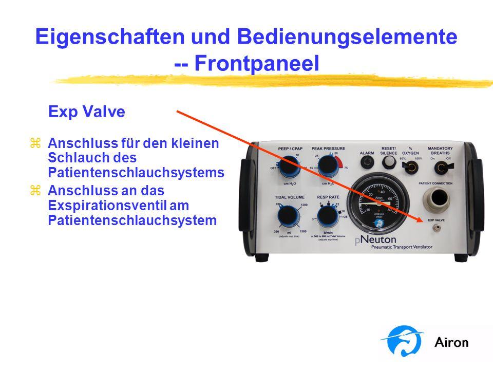 Eigenschaften und Bedienungselemente - Frontpaneel Exp Valve zAnschluss für den kleinen Schlauch des Patientenschlauchsystems zAnschluss an das Exspir