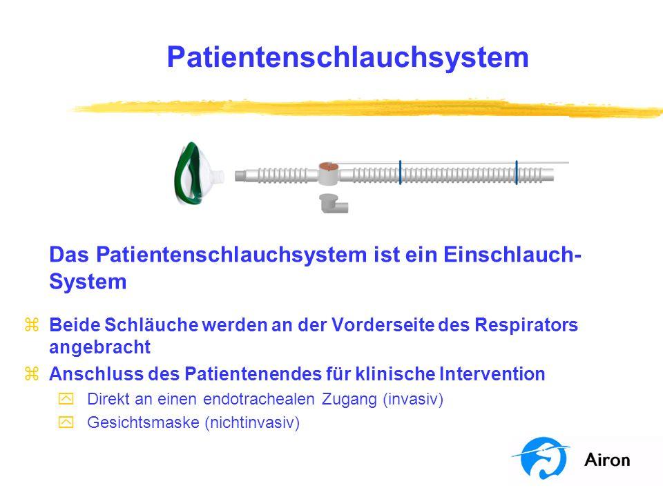 Patientenschlauchsystem Das Patientenschlauchsystem ist ein Einschlauch- System zBeide Schläuche werden an der Vorderseite des Respirators angebracht