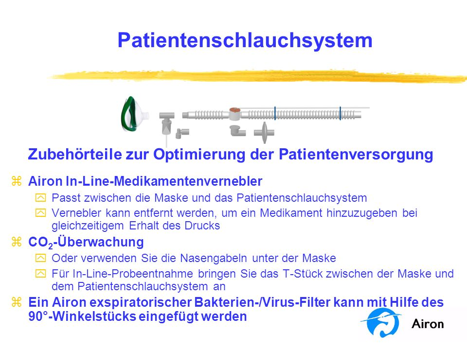 Patientenschlauchsystem Zubehörteile zur Optimierung der Patientenversorgung zAiron In-Line-Medikamentenvernebler yPasst zwischen die Maske und das Pa